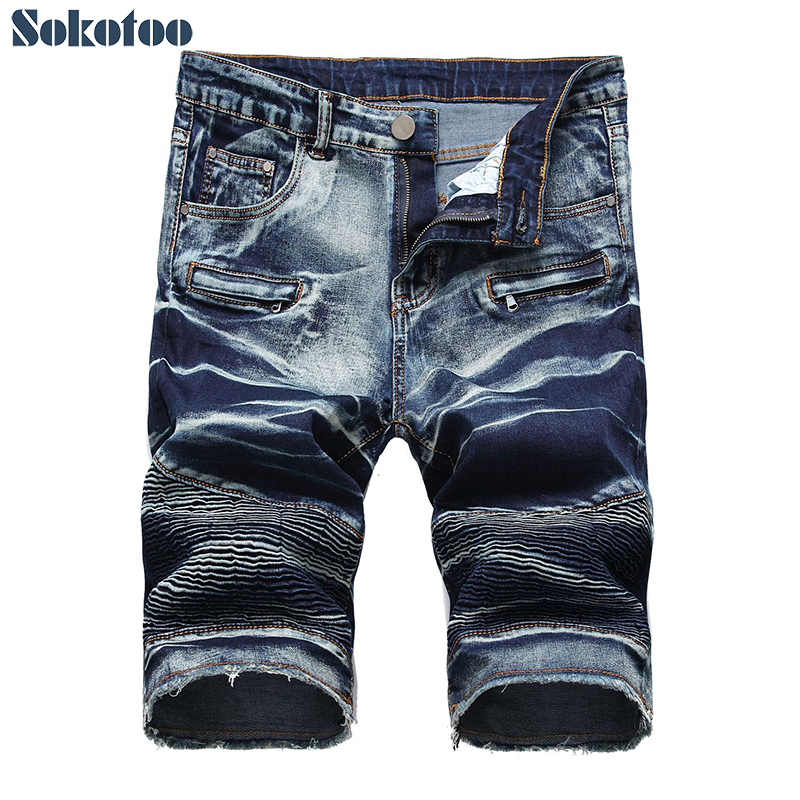 Men's slim straight biker shorts for motorcycle Tie and dyed pleated slim straight stretch denim jeans Summer Capri