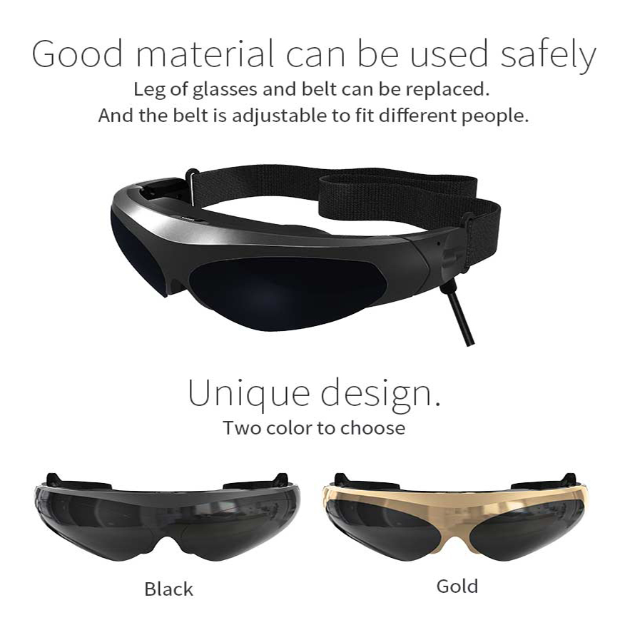 Nouvelles lunettes vidéo FPV 3D 2 mètres de distance 98 pouces affichage virtuel grand écran prise en charge IOS et Android HD entrée 1080P - 3