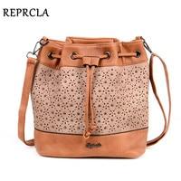 REPRCLA Brand Designer Bucket Shoulder Bag Vintage Rivet Crossbody Bags For Women Messenger Bags Hollow Out