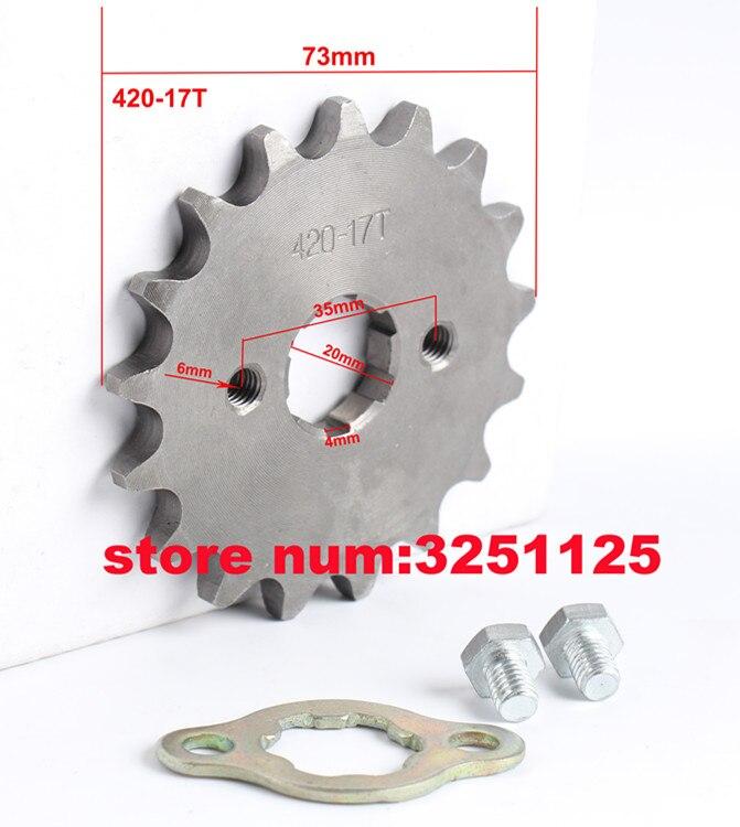 for ATV DIRT BIKE 50CC 70 110CC 125CC 420 Chain 15 TOOTH Sprocket 17//14mm