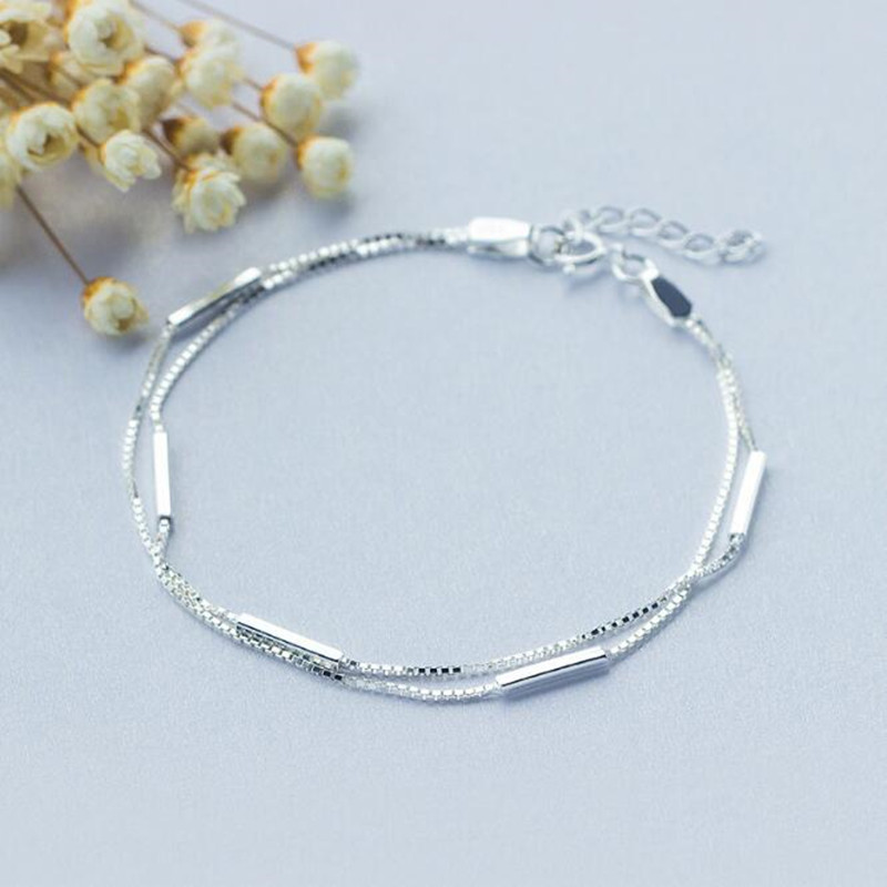 Personality New Art 925 Sterling Silver Jewelry Female Simple Bar Round Stick Double High-quality Popular Bracelet  SB3Personality New Art 925 Sterling Silver Jewelry Female Simple Bar Round Stick Double High-quality Popular Bracelet  SB3
