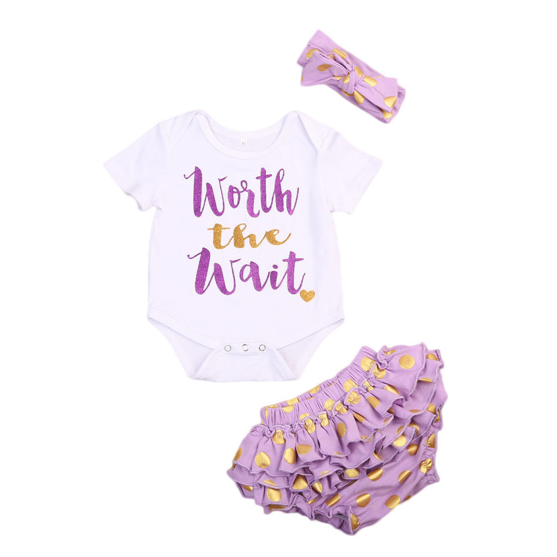 Newborn Baby Girs Clothes Set Cute Toddler Letter Child Rompers + Ruffles Skirt Pants Leggings Headbands 3PCS Outfits Children