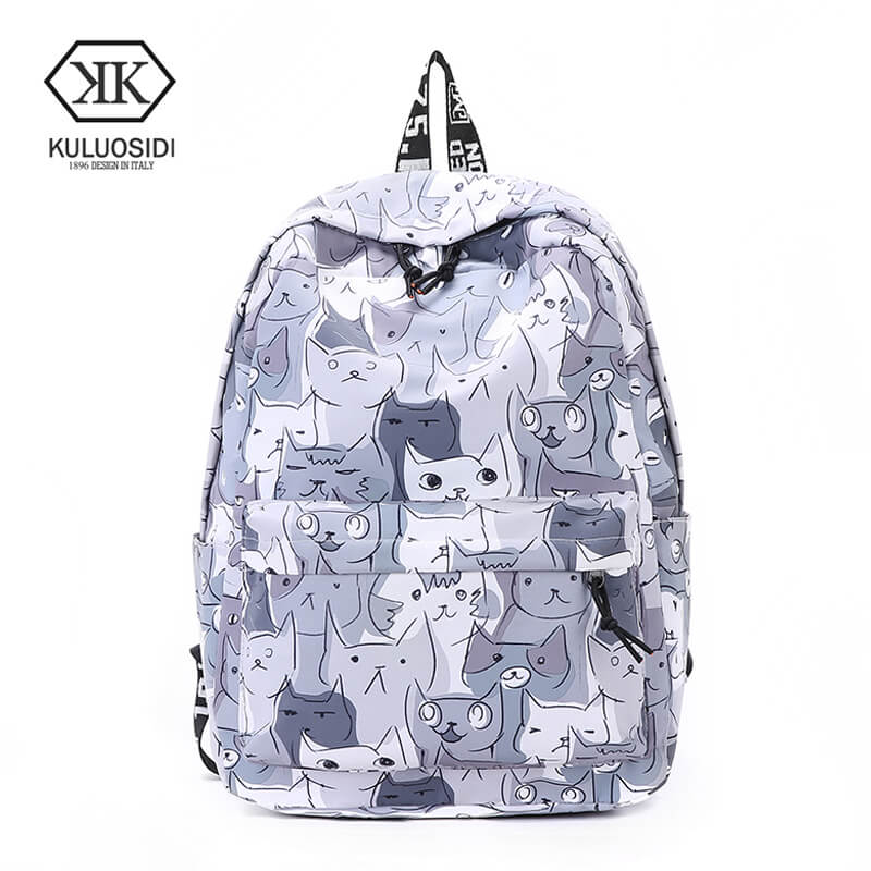 Women Backpack Preppy Style School Bags Back Pack Large Capacity Bookbag Cute Cat Printing Backpacks Girls Knapsack Lady Mochila