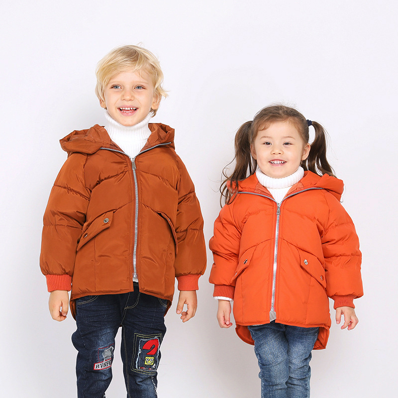 Children's down jacket 2018 new autumn and winter boys girls kids down jacket in the long fashion winter coat clothing warm girls down jacket long in the new fashion winter 2017 female children upset han edition tide leisure coat