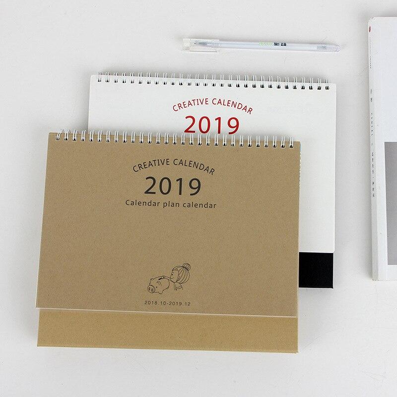Office & School Supplies 2019 Cartoon Pig Kraft Paper Calendar Diy Desktop Calendar Agenda Organizer Daily Schedule Planner 2018.08~2019.12