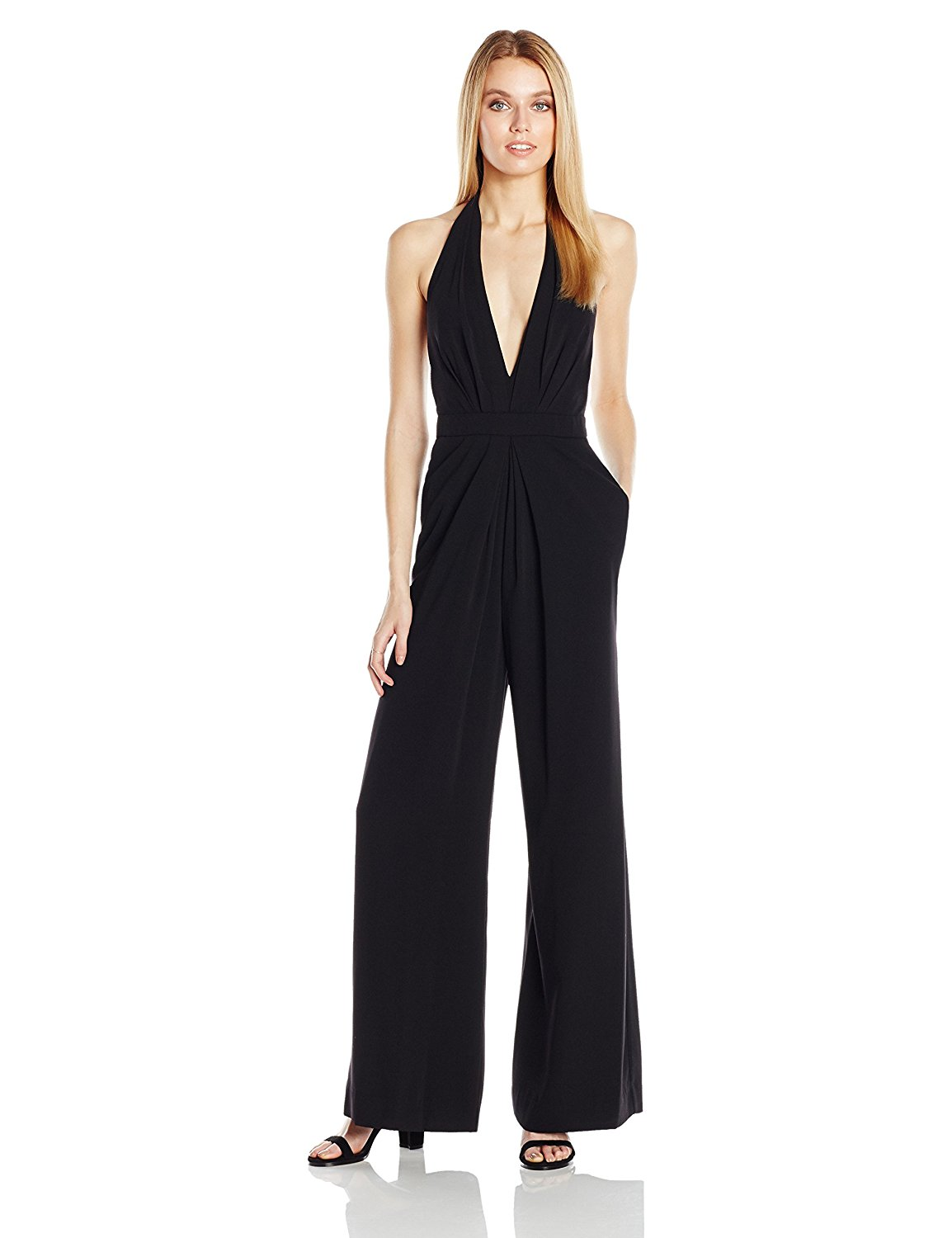 Customize Made Womens Halter Deep V Jumpsuit 2017 Summer New Fashion Solid Color Sleeveless Slim Sexy Casual Plus Size Jumpsuits
