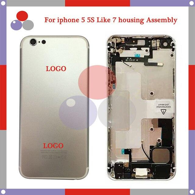 10 Шт./лот Высокое качество Для iphone 5 Как 7 Стиль 7 мини 5S как Для iphone 7 Стиль Полный Крышку Корпуса Ассамблея с Flex кабель