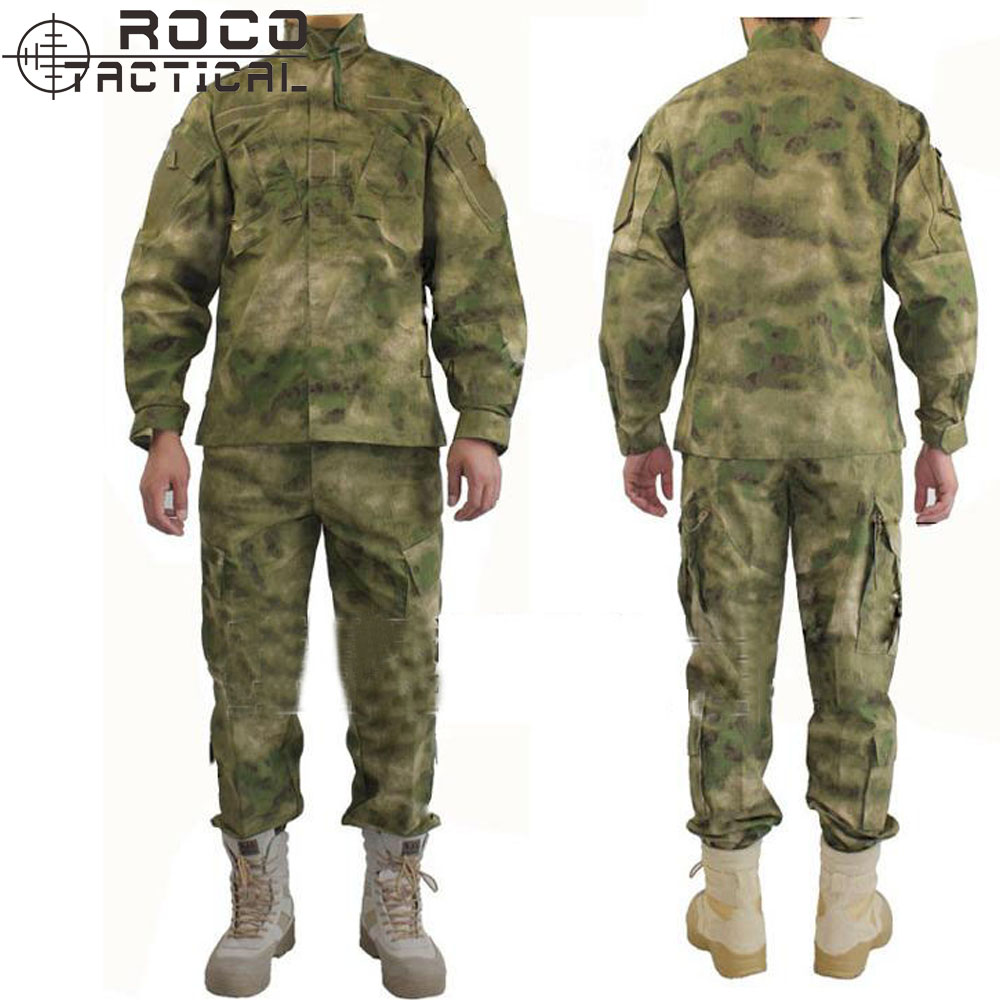 ФОТО ROCO Tactical Camouflage Suit RIPSTOP Hunting Suit FG A-TACS Tactical Suit Includes Jacket & Tactical Pants & Military Bonnie