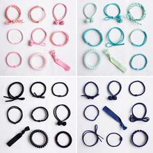 Women Girls Kids Stretchy Elastic Hair Ties Robe Ponytail Holder Scrunchies Ribbon Spiral Cord Bands Bobbie Rings