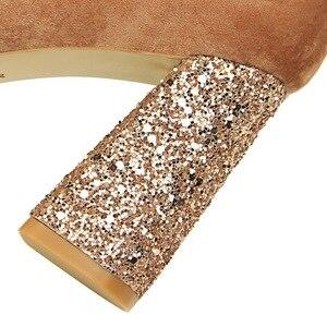 Image 3 - Salto feminino, salto alto com 8cm, calçado de bloco, sexy, robusto, com cachecol, elegante, amarelo, festa, casamento, 2020 sapatos com calçados