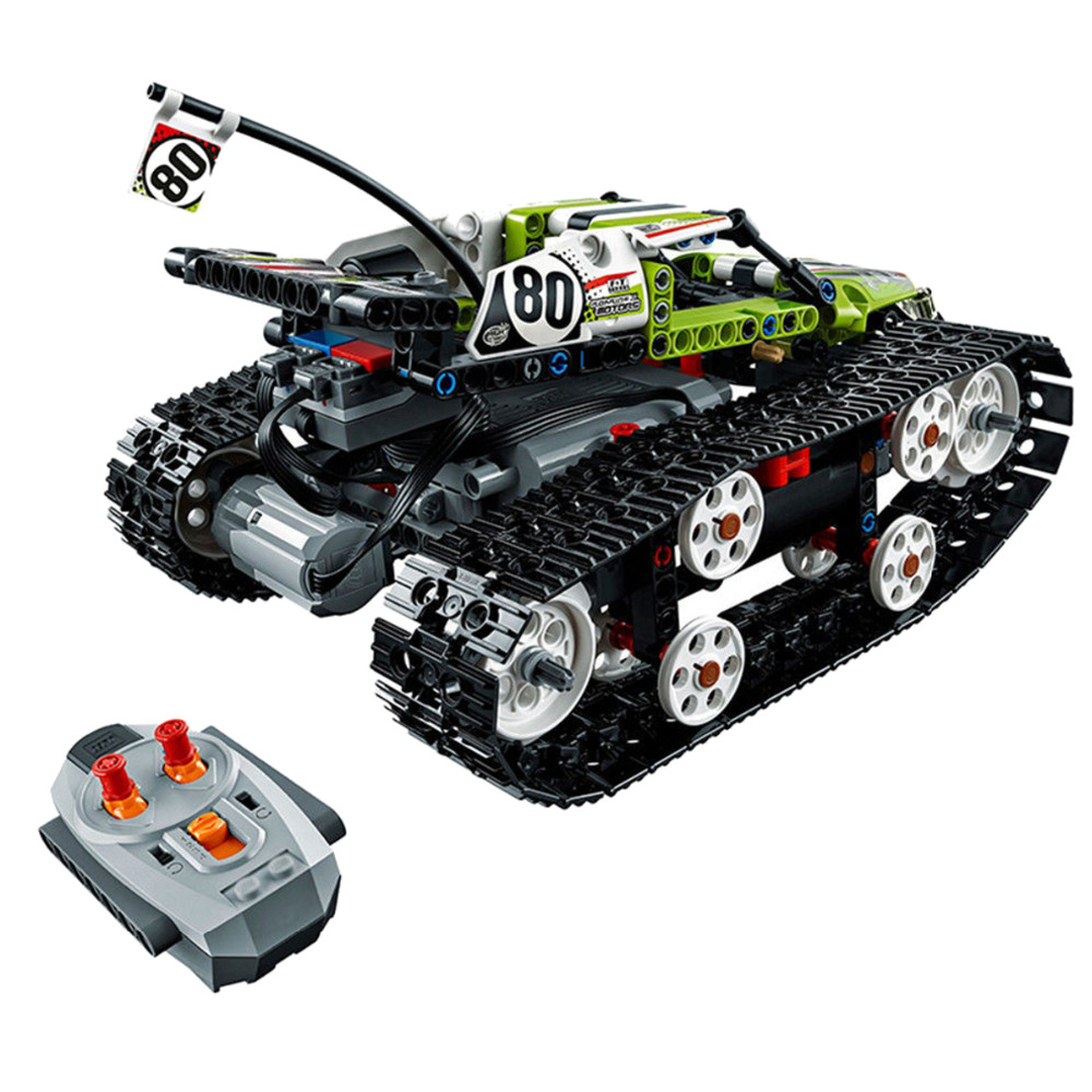 397Pcs Remote-control Technic Series RC Track Puzzle Jigsaw Race Car Building Blocks Brick Toy glow race track bend flex glow in the dark assembly toy 112 160 256 300pcs slot race track 1pc led car puzzle educational toys