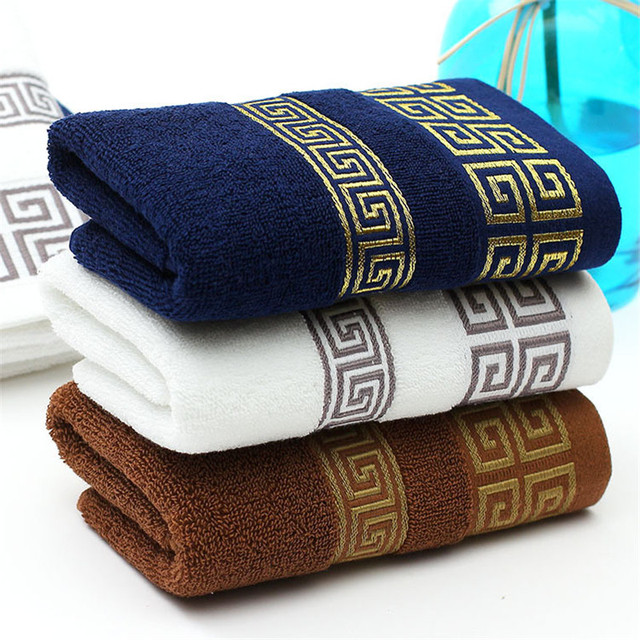 Bonenjoy Bath Towel 1 pc High Quality Embroidered Thick 100%cotton Solid Color Bath/Face Towel