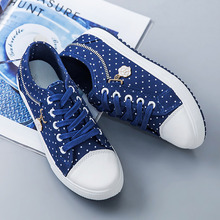 Canvas casual shoes woman 2019 new breathable solid polka do