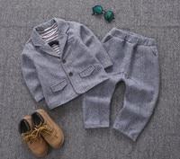 New 2017 0 5Y Boys Gentlemen Thick Blazer Clothing Set 3pcs Boys Clothing Kids Suit Set