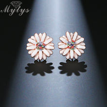 Mytys New Elegant Flower Earrings Fashion Jewelry Australia Crystal Enamel Stud Earrings Les fleurs de boucles d'oreilles CE347(China)