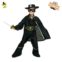 New Arrival Children Zorro Costume Role Play Superhero Zorro Clothing Fancy Dress Halloween Party for Boy's Costumes