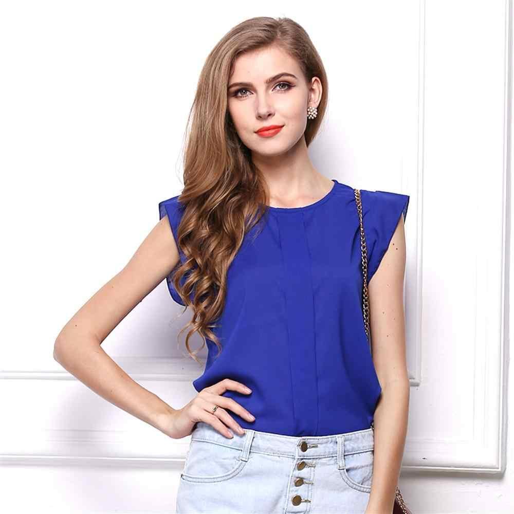 2019 ファッション女性固体レディースシフォンシャツ OL 女性ラウンド襟ノースリーブフリルトップスプラスサイズ