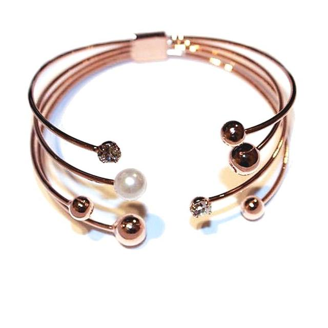 Multi layer Rose Gold color Cuff Bracelets For Women Bangle Open