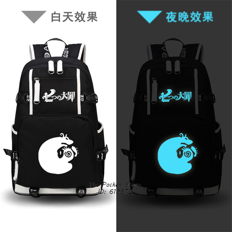 Hot Anime The Seven Deadly Sins Meliodas Ban King Cosplay Tattoo Printing Backpack Canvas Laptop Backpack Cartoon School Bags