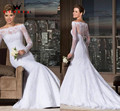 Vestido de noiva sereia com manga sexy mermaid long sleeve wedding dresses bride dress 2017 bridal wedding gown QUEEN BRIDAL Q26