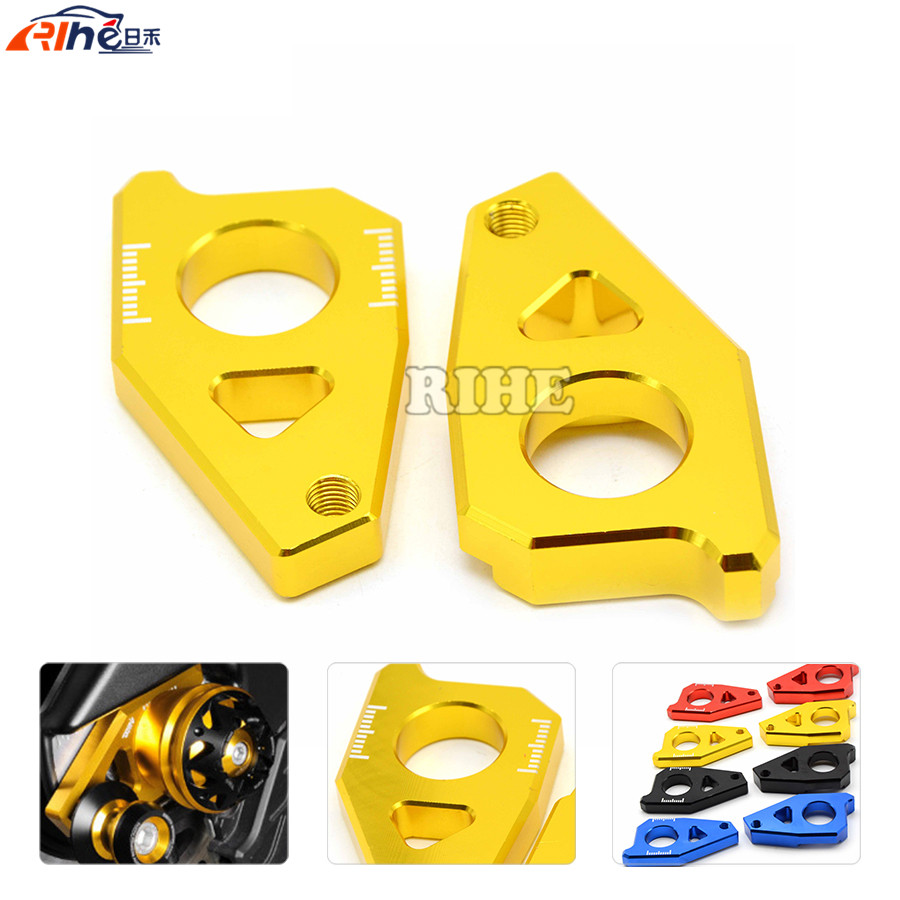 Motorcycle Rear Axle Spindle Chain Adjuster Blocks chain adjuster tensioners for yamaha FZ8 TMAX 530 2012 2013 2014 2015 motorcycle rear axle spindle chain adjuster blocks chain adjusters tensioner for yamaha mt 07 2013 2016 fz 07 2015 2016
