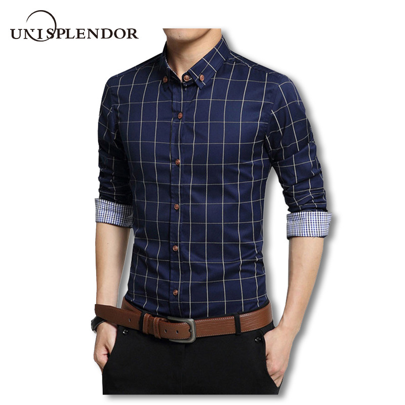 Plus Size 4XL 5XL 2019 Menns Plaid Bomull Kjole Skjorter Mann Langermet Slim Fit Menn Business Casual Shirt Camisa For Man YN259