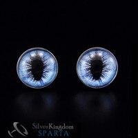 SPARTA Gerçekçi Buz Ejderha Göz Beyaz Altın Elektroliz kol düğmeleri erkek kol Düğmeleri Ücretsiz Nakliye