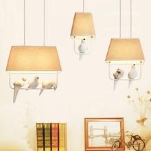 retro loft Birds pendant lights vintage resin bird fabric lampshade for kitchen dining room bar hanging lighting 110-240V