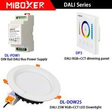 Miboxer AC110V 220V DL-DOW25 RGB+CCT DALI 25W LED Downlight DP3 dimming panel DL-POW1 DIN Rail Bus Power Supply
