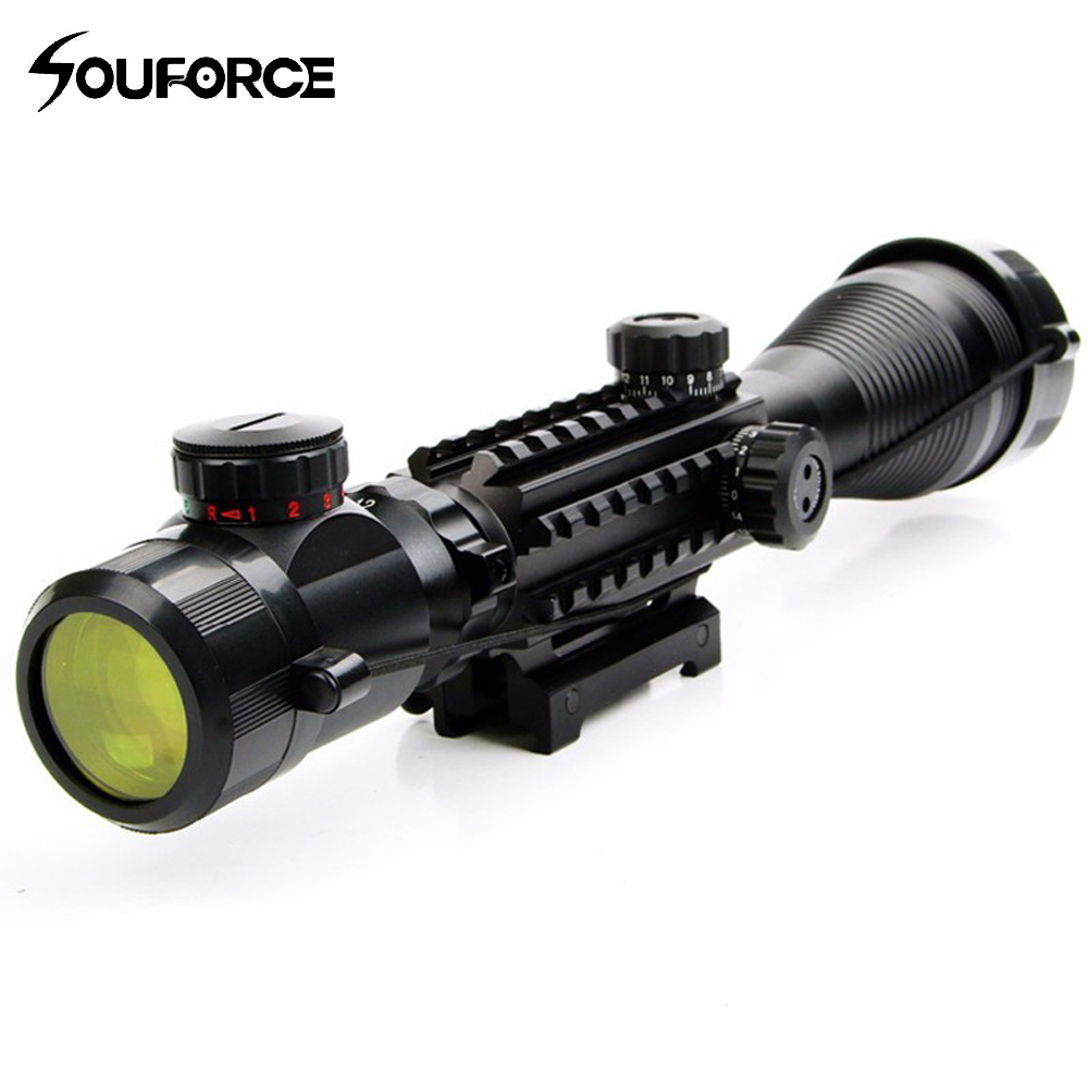 New 4-12x50EG Tactical Optical Riflescope With Illuminated 4 Reticle Sight Red Green With Side Rails & Mount For Hunting Airsoft