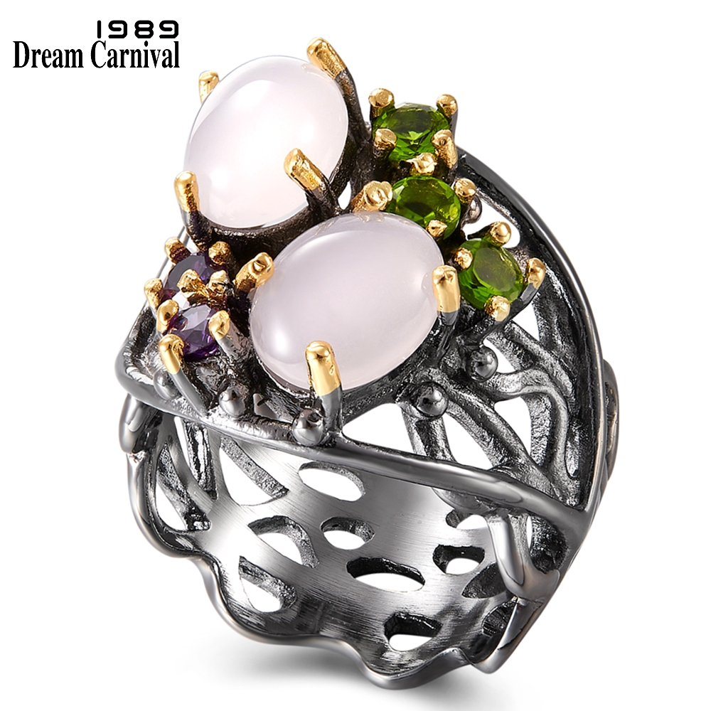 DreamCarnival 1989 Stunning CZ Rings for Women Wedding Anniversary Pinky Opal Stone Eye Catching Olivine Purple Zirconia WA11692(China)