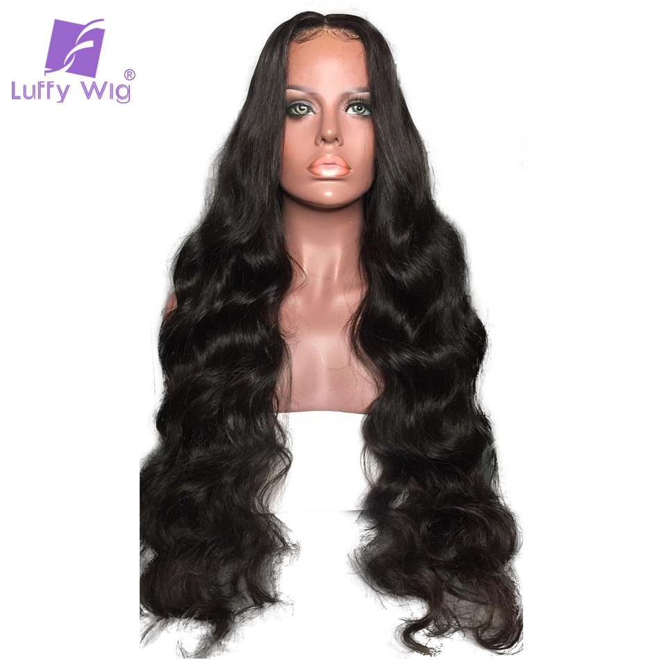 Luffy 180% Density Pre Plucked 13*6 Long Space Lace Front Human Hair Wigs With Baby Hair Peruvian Non-remy Hair For Black Women
