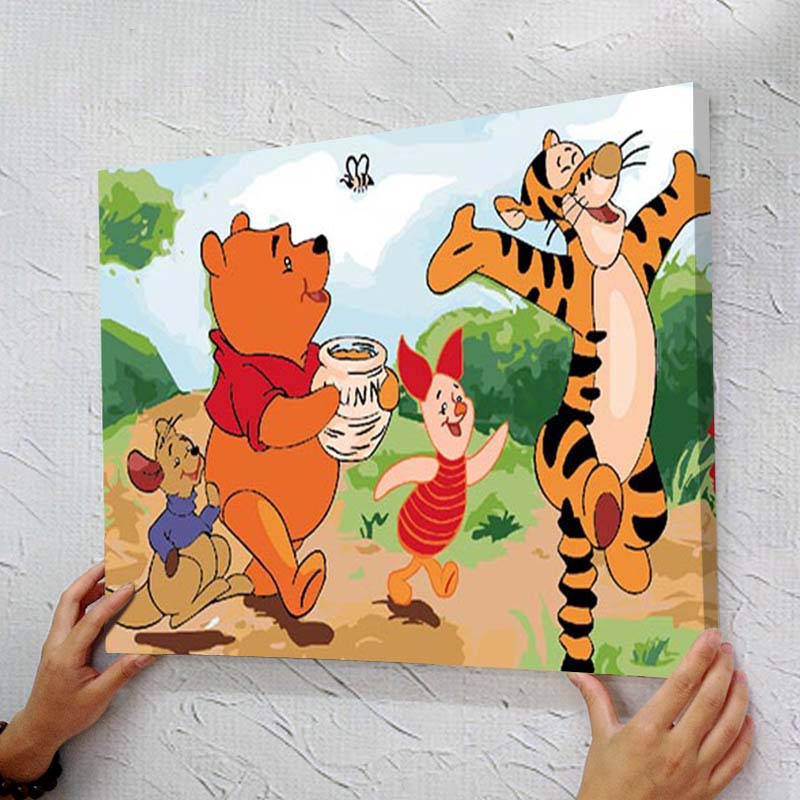 diy oil painting by numbers for kids 40x50 with frame acrylic cartoon drawing on canvas for - Drawing And Painting For Kids