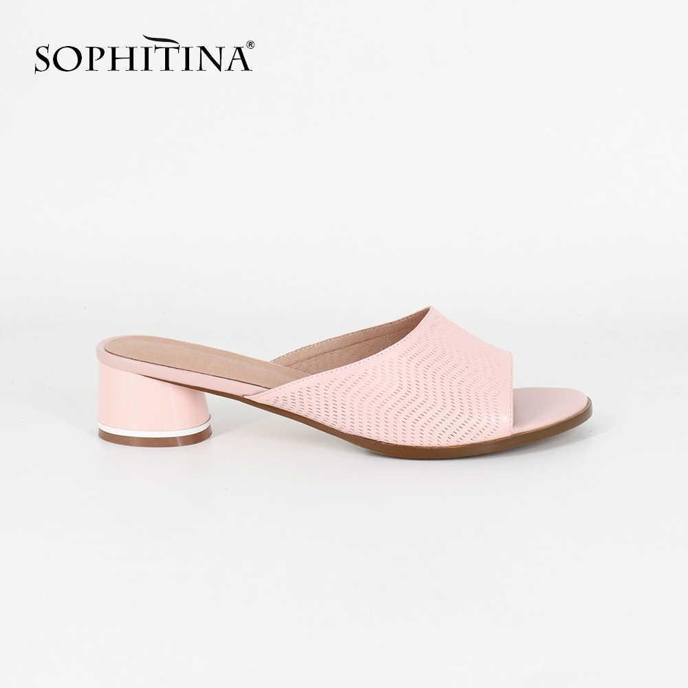 SOPHITINA yeni moda kadın terlik büyük boy 36-44 pembe koyun derisi yuvarlak topuklu yaz ayakkabı yüksek kalite genç kız terlik SC18