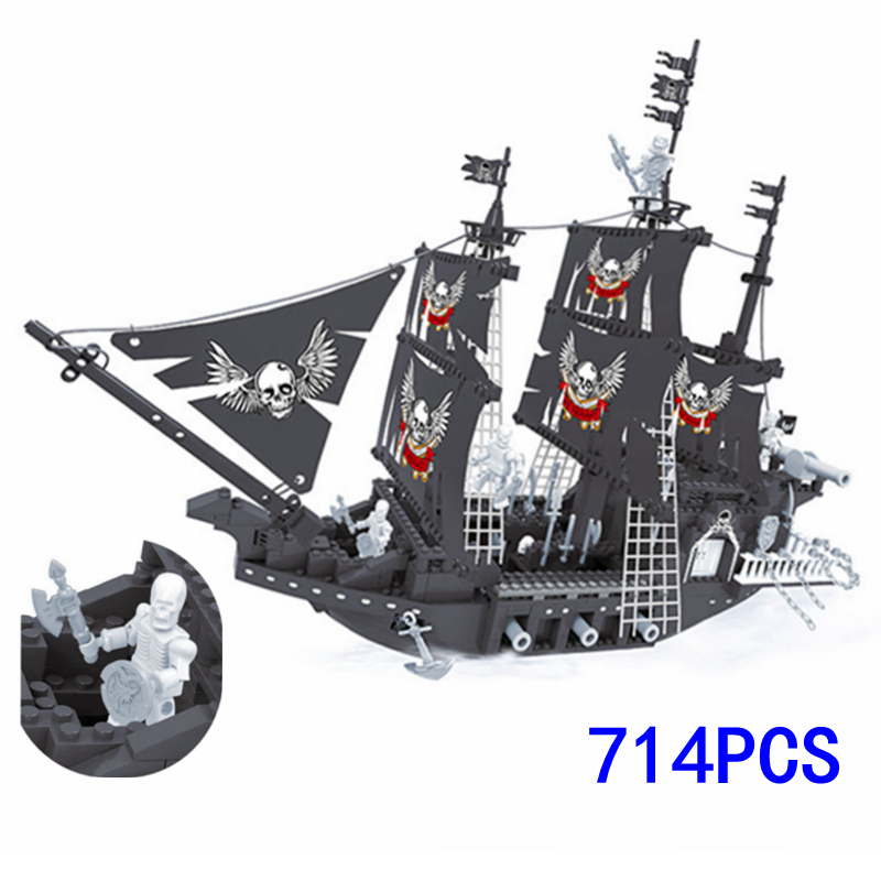 714pcs DIY Building Blocks Black Pearl Model Pirates Ship of Caribbean Compatible with Legoe Bricks set Toys for Children Gift 780pcs black pearl caribbean pirate ship model building block toys enlighten 308 educational gift for children compatible legoe