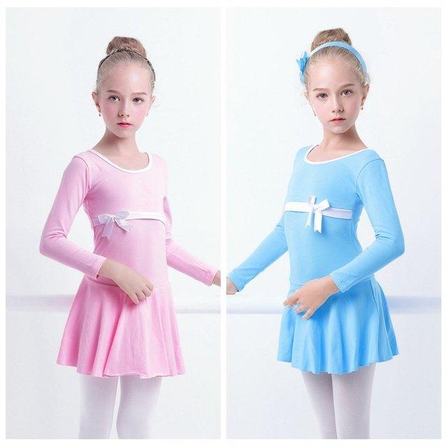 Балетное платье для маленьких девочек, с длинными рукавами, с юбкой, трико, Милый хлопковый гимнастический купальник для балета
