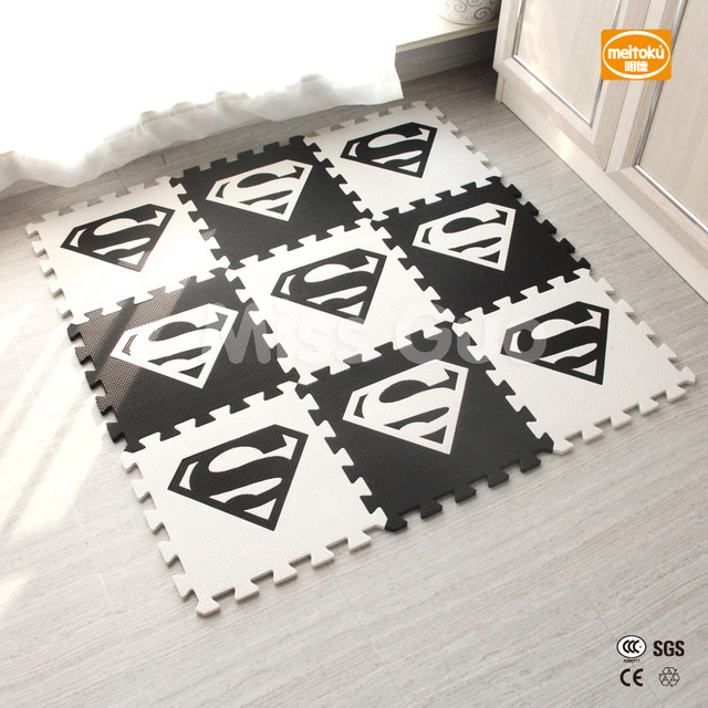 Meitoku baby EVA foam puzzle play mat/lot Interlocking Exercise floor mat,per 30cmX30cm 1cmThick/ Superman/ play mat /10pcs