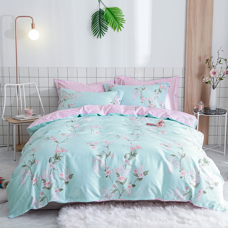 Blue Solid Color Pink Prints Sheet Pillowcase 3/4Pc Duvet Cover Set Children Bedding Sets Twin Full Size Bedlinen 100% Cotton Blue Solid Color Pink Prints Sheet Pillowcase 3/4Pc Duvet Cover Set Children Bedding Sets Twin Full Size Bedlinen 100% Cotton