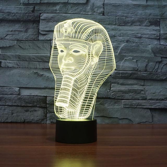 Egipto Faraón Noche Dormitorio del sitio de Niños de Visualización 3D Ilusión RGB USB 7-que Cambia de color de Escritorio Mesa Luna Decoración de la Lámpara de Luz
