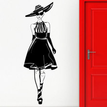 Vinyl applique sexy girl fashion show style model catwalk wall sticker clothing store shopping center home decoration mural MV17