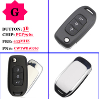Free shipping OEM 3 Buttons 433MHz PCF7961 Remote Flip Car Key For Renault Kadjar Captur Symbol Megane 3 CWTWB1G767 No Mark