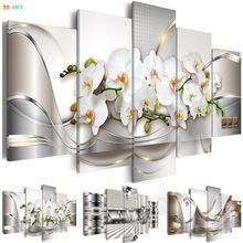 White Orchids Flowers Prints Poster Wall Painting 5 Panel Pastel Flora Modern Wall Art Canvas for Living Room Home Decor(China)