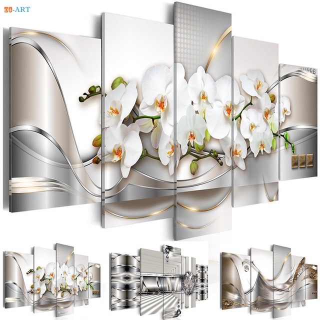White Orchids Flowers Prints Poster Wall Painting 5 Panel Pastel Flora Modern Wall Art Canvas for  Living Room Home Decor