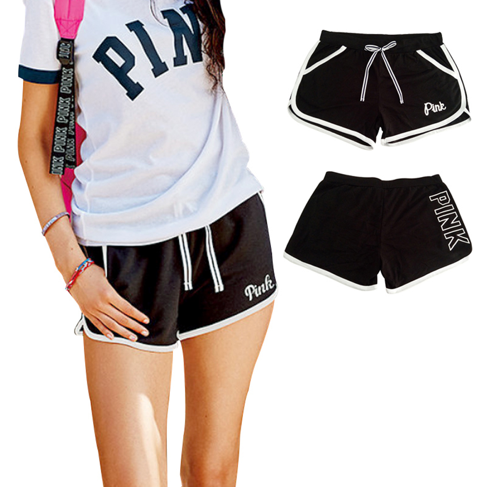 VS Love Pink   Shorts   Women Summer Ribbon Stripe Letter Bow Booty Sexy Hot Pockets Black Cotton High Waist Casual   Shorts   Plus Size