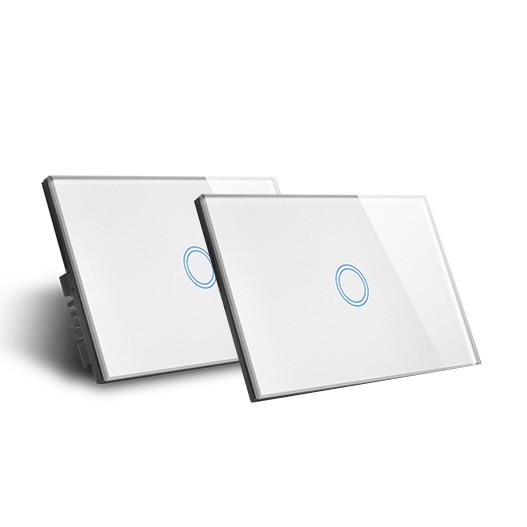 Double contrôle un interrupteur d'éclairage avec rétroaction et moniteur de consommation d'énergie dans APP Support WiFi contrôle tactile contrôle