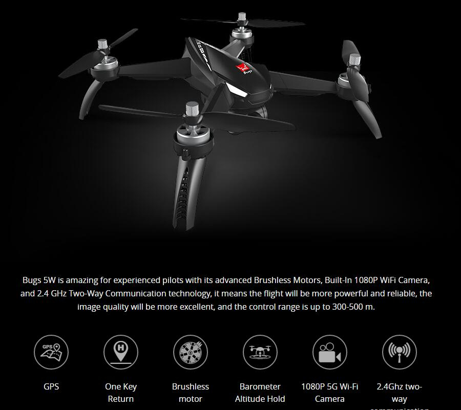 MJX Bugs 5 W B5W 5G WIFI FPV With 1080P Camera GPS Brushless Altitude Hold 2.4G 6-Axis RC Drone Quadcopter RTF цены онлайн
