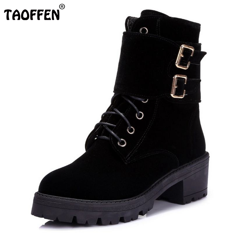 Ladies Flats Mid-Calf Boots Women Half Short Botas Autumn Winter Boot Buckle Fashion Footwear Feminina Shoes Size 34-43 women real genuine leather flat mid calf boots autumn winter half short boot frenal fashion footwear shoes r8285 size 34 39