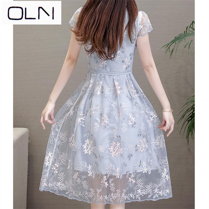 Dress Summer Vestidos Korean OLN Long sleeved summer A line dress in mesh dress plus size L 4XL in Dresses from Women 39 s Clothing