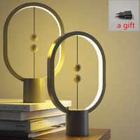 2019 date USB puissance Ellipse magnétique mi-air interrupteur chaud blanc veilleuse Mini Heng Balance LED lampe de Table bureau décor à la maison