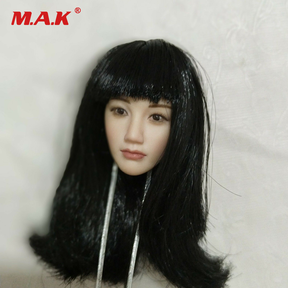 1:6 Scale Asian Beauty Girl Head Sculpt with Long Black Hair for 12 Pale Female Action Figure Body